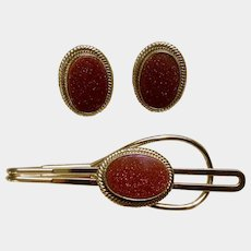 Matching Cufflinks and Tie Clip Vintage Goldstone Costume Jewelry