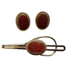 Vintage Goldstone Matching Cufflinks and Tie Clip Costume Jewelry