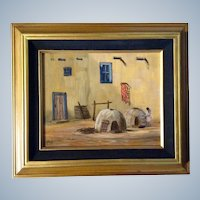 Norman D. Koch, Acrylic Painting on Board, Signed by Artist, Little Indian Girl by 'Pueblo Ovens'
