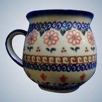 Mug Polish Pottery Cer-Maz Ceramika Boleslawiec Bubble Floral Vintage Coffee Cup Signed C Adazarek