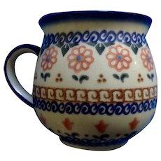 Vintage Polish Pottery Cer-Maz Ceramika Boleslawiec Bubble Mug Floral Coffee Cup Signed C Adazarek