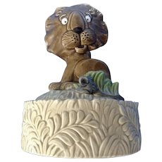 Quon-Quon Lion Music Box Ceramic Figurine Plays 'Feelings' Made in Japan QQ