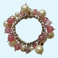 Bracelet Dangling Pink, Mauve, Faux Pearl Colored Beads on Silver Tone Settings Costume Jewelry
