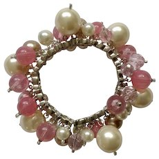Dangling Pink, Mauve, Faux Pearl Colored Beaded Bracelet on Silver Tone Settings Costume Jewelry