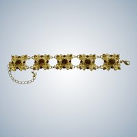 Rhinestone Bracelet Gold Tone and Brown Costume Jewelry