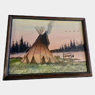 Johnny Yazzie  (born 1945) Indians in Teepee Acrylic Painting on Canvas Board Signed by Listed Navajo Artist