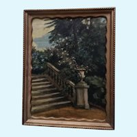 Stone Stairway Landscape Oil Painting Early 20th Century Unsigned