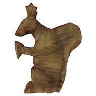 Wooden Folk Art Carved German Squirrel Holding Pinecone Figurine