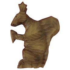 German Folk Art Carved Squirrel Wooden Holding Pinecone Figurine