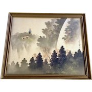 Asian Painting on Silk Pagoda Overlooking Waterfall Signed and Stamped By Artist