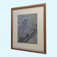 Eleanor Cook, Koala Bear in a Tree, Conte Works on Paper