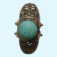 """Faux Turquoise Knuckle Ring with Gold Tone Filigree Setting 6-1/2""""  Costume Jewelry"""