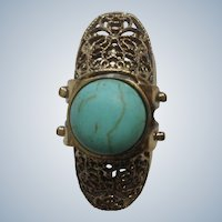 "Faux Turquoise Knuckle Ring with Gold Tone Filigree Setting 6-1/2""  Costume Jewelry"