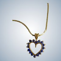 "Blue Rhinestone Heart Pendant Necklace Gold-tone Costume Jewelry 18"" Long Chain"