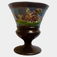 """English Lusterware Figural Goblet Vase Old Brown 4"""" Tall"""