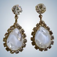 Teardrop Clip-on Earrings Vintage Sparkling Crystal Faux Diamond Rhinestone Costume Jewelry