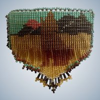 Howling Coyote Beaded Hair Barrette Native American with Leather Backing