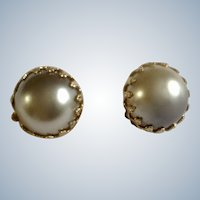 "Faux Pearl Clip-on Earrings Vintage Silver Gray Made Japan 3/4"" Diameter Costume Jewelry"
