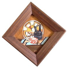 """Postage Stamp Oil Painting, Indian Basket, Blanket and Pottery, On Board 2"""" Square ,Signed by South Western Artist"""
