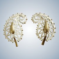 Screw Back Clip-on Earrings White Enamel on Gold Tone Leaf Paisley Filigree Costume Jewelry