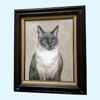 Scott M. Soffa, Siamese Cat Portrait Kitty Oil Painting