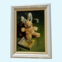 Eileen Conn, Still Life Oil Painting, Stuffed Bunny Rabbit
