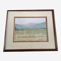 Shirley Chinneck, Mountain Meadow Pastel Landscape Painting Signed by Canadian Listed Artist