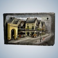 Janet Klein, New Orleans French Market Primitive Cityscape Oil Painting on Stone Slate Tile Signed by Louisiana Artist