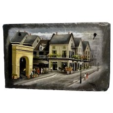 Janet Klein Primitive Cityscape New Orleans French Market Oil on Stone Slate Tile Signed by Louisiana Artist