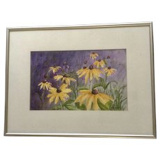 D Wolter, Yellow Daisy Flowers Bursting with Color, Watercolor Painting Signed by Artist