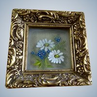 Floral Oil Painting on Reverse Glass Small Three Dimensional Signed by Artist