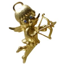"""Gold Tone Cupid Angel with Blue Rhinestone Eyes Mamselle Brooch Pin Costume Jewelry 2"""""""