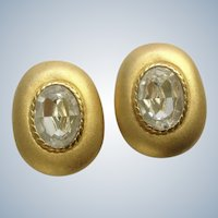 Gold Tone Clip-on Earrings with Oval Crystal Glass Faux Diamond Center Stone Costume Jewelry 1-1/4""