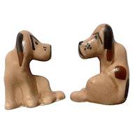 Vintage Hound Dog Sitting Bloodhounds Ceramic Figurines 1940's-1950's