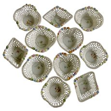Vintage Ucagco Japan Floral Lattice Porcelain Miniature Baskets White Woven Nut Bowl Set Shaped Canasta / Poker Playing Card Suits