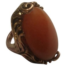Large Beautiful Orange Stone and Copper Ring Size 6-1/2 Costume Jewelry
