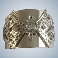 Wide Silver Tone Filigree Bracelet and 5 Diamond Rhinestones Marked JB Costume Jewelry