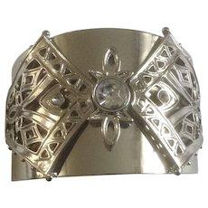 Wide Silver Tone Filigree Bracelet and 5 Diamond Rhinestones Marked JB Costume Jewelry