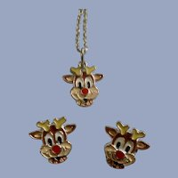 Christmas Rudolph Red Nose Reindeer Necklace and Stud Post Earrings