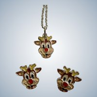 Rudolph Red Nose Reindeer Pendant Necklace and Matching Stud Post Earrings Christmas Costume Jewelry Small 1/2""