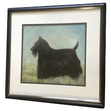 LaVerne Snodgrass, Kato the Scottish Terrier Scottie Dog Portrait Original Pastel Painting Signed by Artist