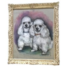 Maxwell, Toy Poodle Dogs Portrait Pastel Painting 1969 Signed by Artist