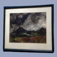 L Leliman, Black Bird Mixed Media Tempra and Watercolor Painting