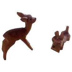 Erzgebirge Deer and Scottie Dog Figurines Vintage Wood Hand Carved Miniatures