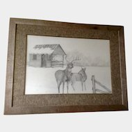 D.F. Higgason, Deer in Rural Snow Covered Large Landscape Works on Paper Signed by Artist