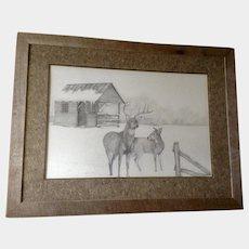 D.F. Higgason, Deer in Rural Snow Covered Large Landscape Works on Paper Signed by Artist