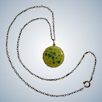 Yellow & Blue Necklace Gold- tone Pendant on a Bronze Colored Chain Costume Jewelry 19""