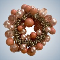 Peach & Pink Beaded Bracelet Faux Pearl Costume Jewelry