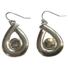 """Dangling Silver Tone Tear Drop and Diamond Rhinestone Hook Earrings For Pierced Ears Costume Jewelry 1"""""""