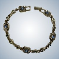 Sky Blue Bracelet Rhinestone and Silver Tone Costume Jewelry 7""
